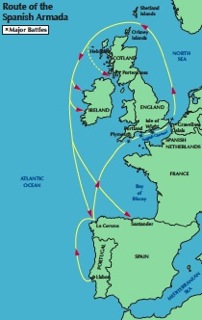 Route of the escaping Spanish Armada