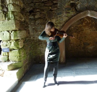 Nicola plays in the castle